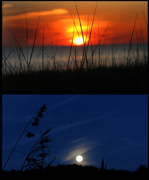 Lake Michigan - Sunset, Moonrise