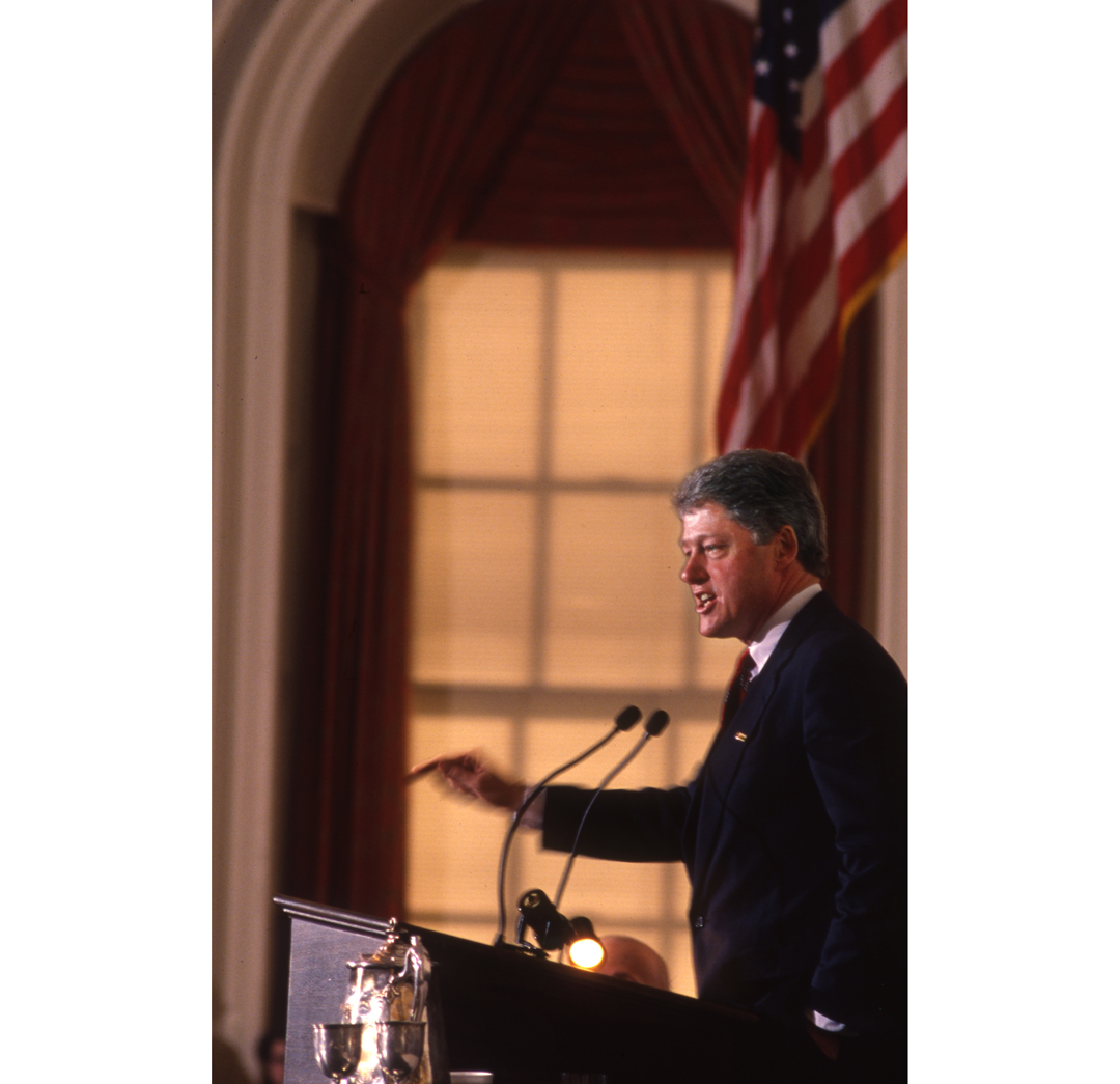 Democratic candidate Bill Clinton speaks at the New Hampshire statehouse in 1991. This photograph hung in the White House, according to then President Clinton's secretary.