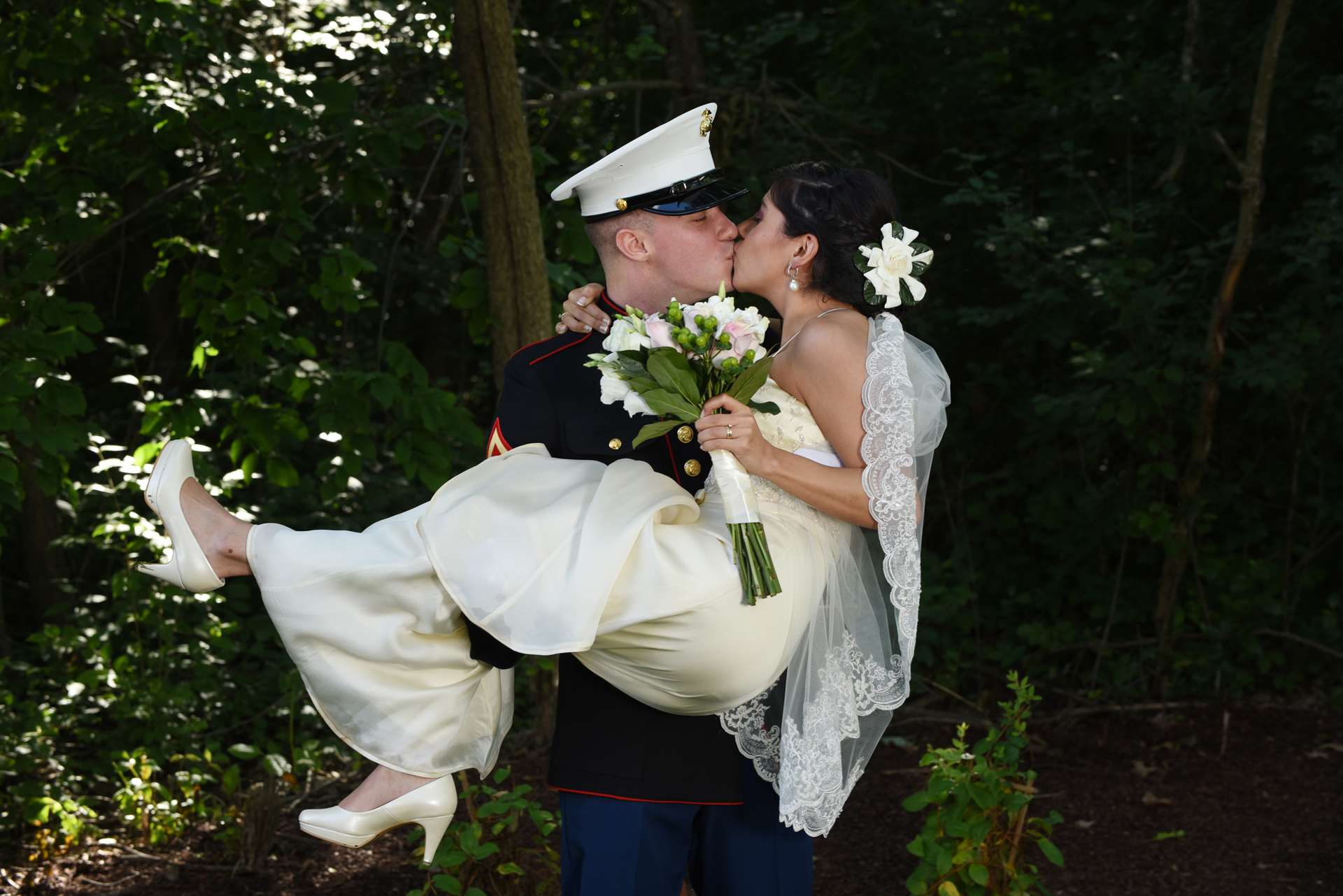 Ann Arbor Michigan wedding photography military dress