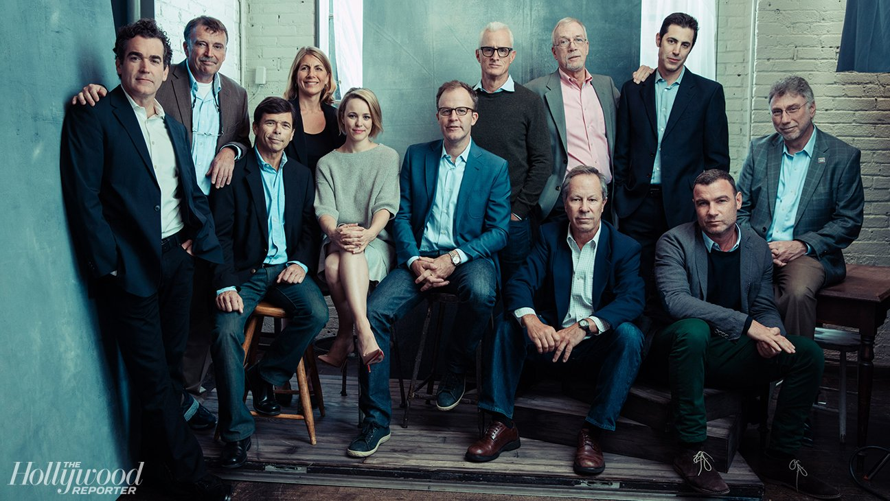 The Hollywood Reporter took this cool portrait of the creatives, real-life journalists and actors portraying them in Spotlight. Brian d'Arcy James, Matt Carroll, Michael Rezendes, Sacha Pfeiffer, Rachel McAdams, Tom McCarthy, John Slattery, Walter Robinson, Josh Singer, Ben Bradlee Jr., Liev Schreiber and Marty Baron.
