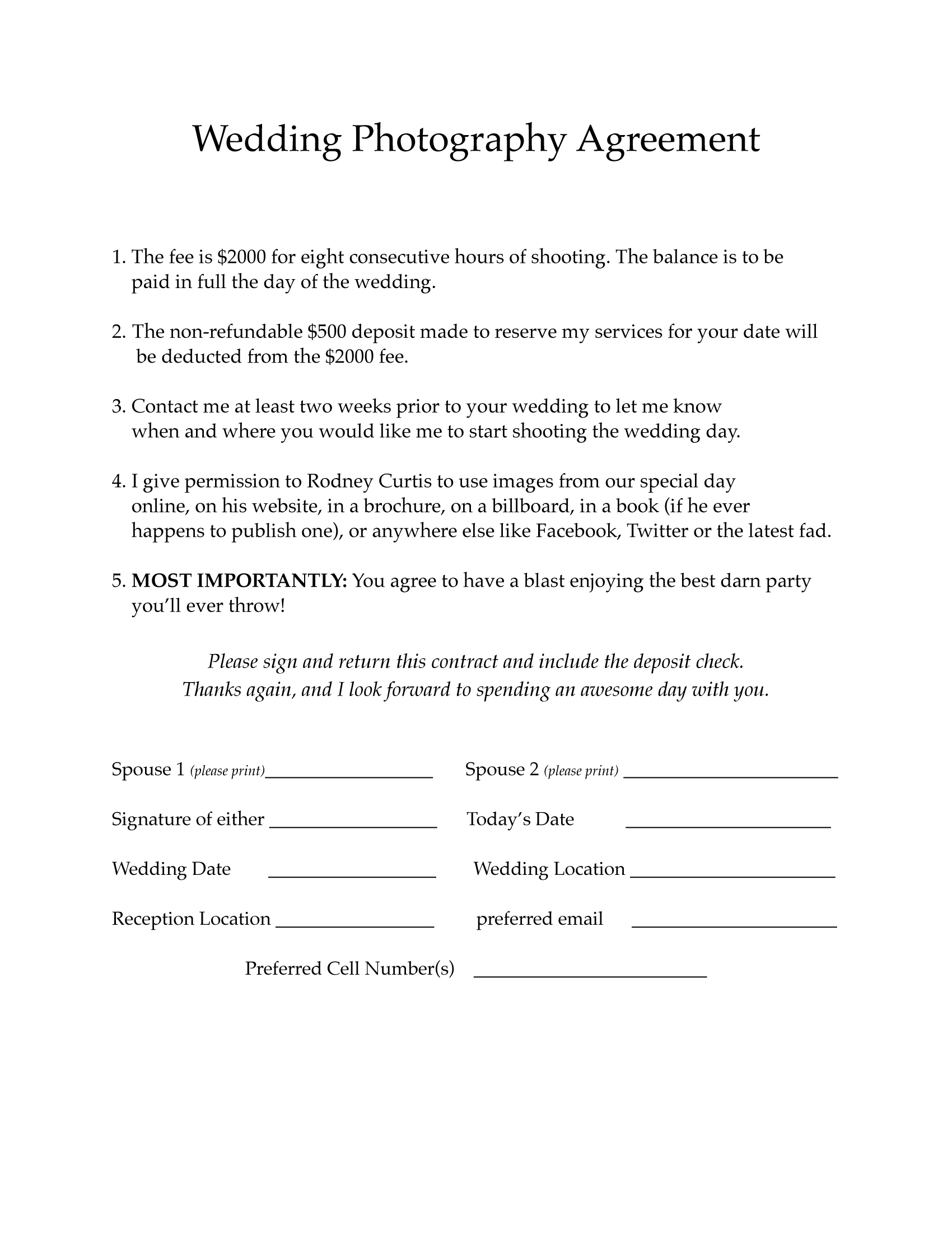 2015 Wedding agreement