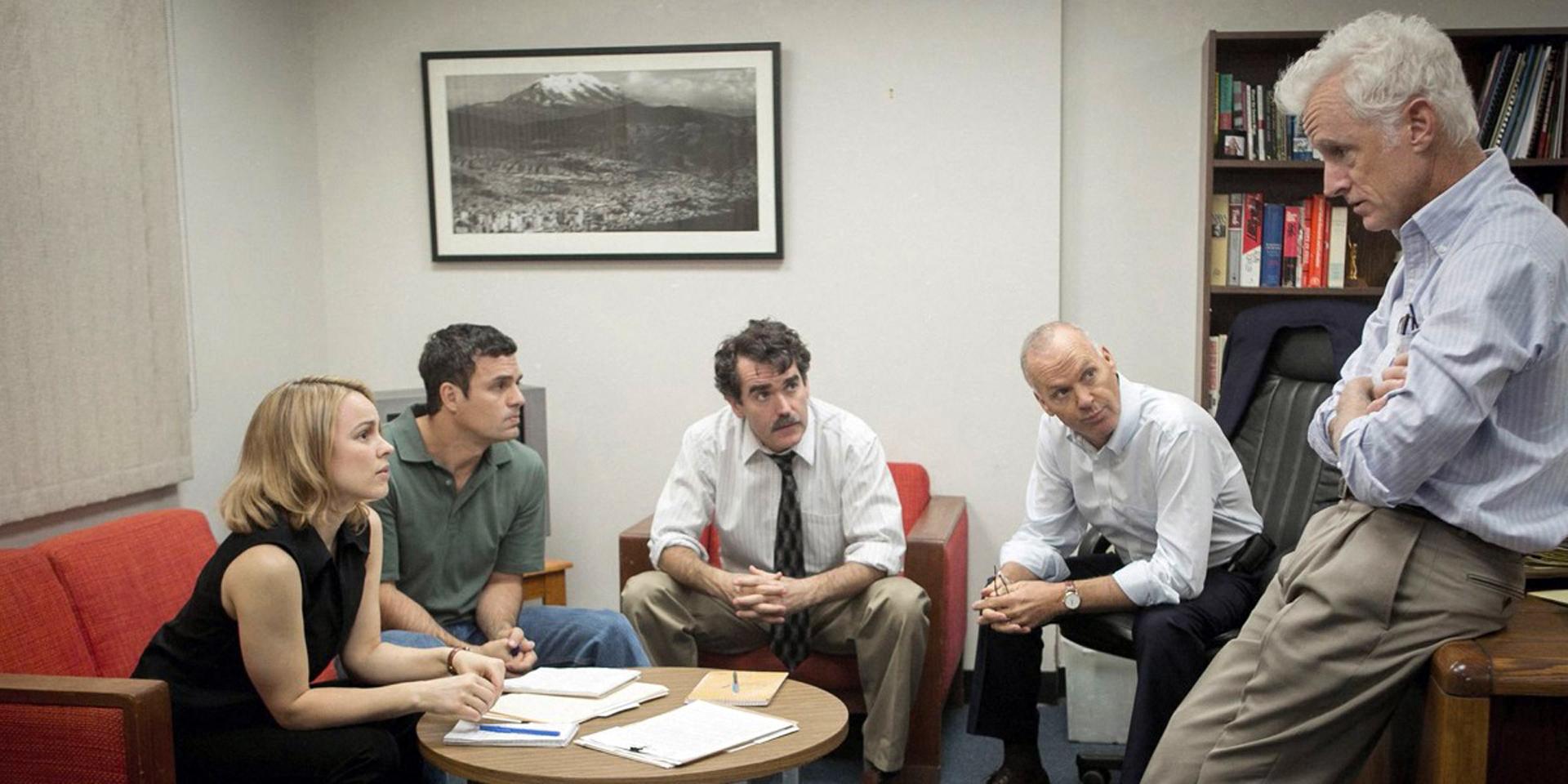 Rachel McAdams, Mark Ruffalo, Brian d'Arcy James, Michael Keaton and John Slattery star in Spotlight.