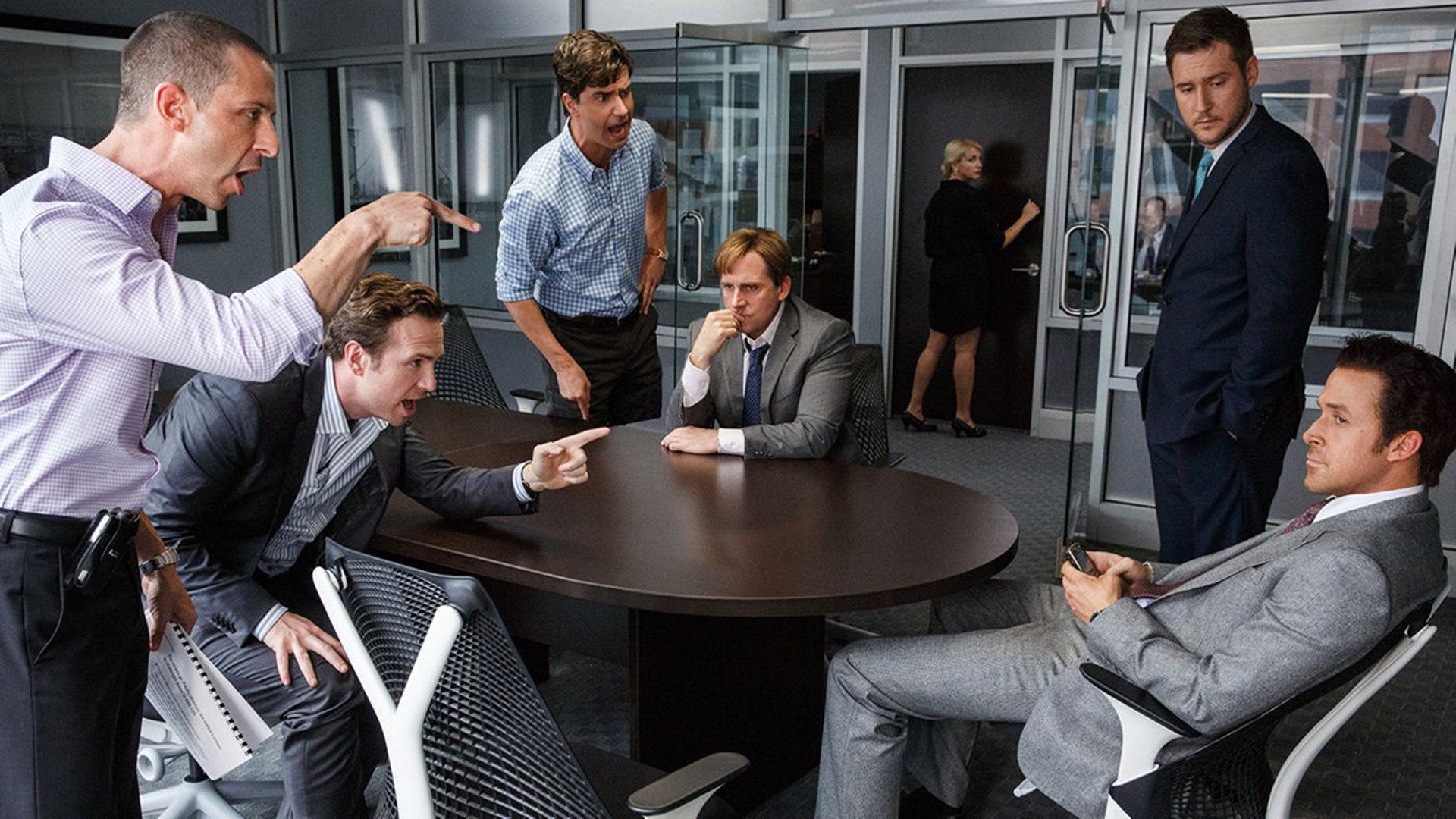 Jeremy Strong, Rafe Spall, Hamish Linklater, Steve Carell, Jeffry Griffin and Ryan Gosling star in The Big Short.